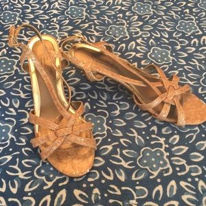 Hush Puppies Cork/ sparkle heel worn once